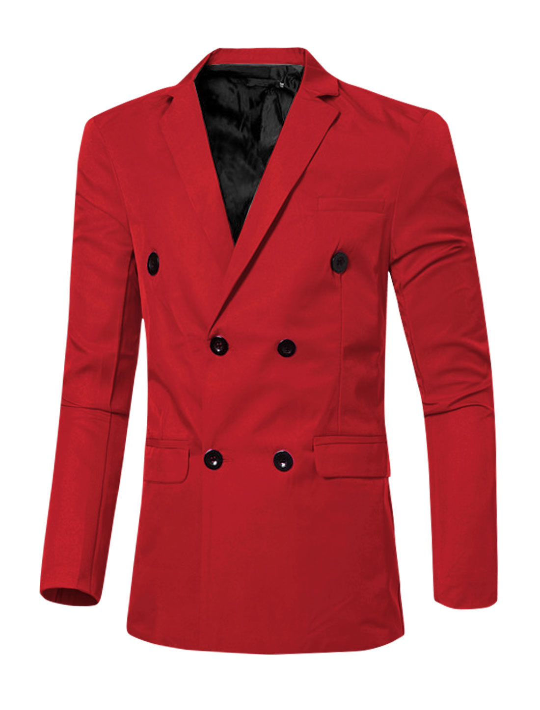 Men Notched Lapel Flap Pockets Double Breasted Blazer Red M