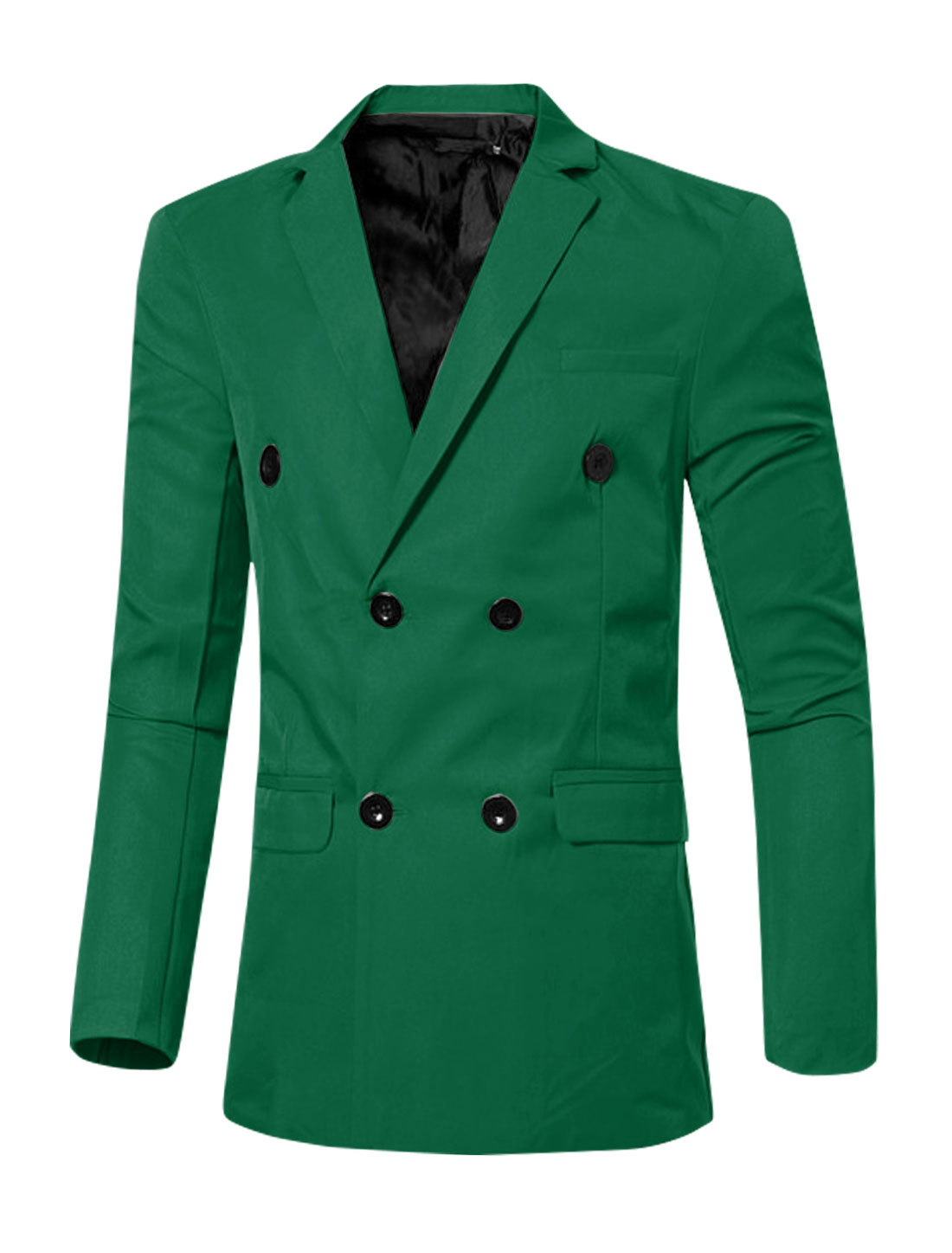 Men Notched Lapel Flap Pockets Double Breasted Blazer Green M