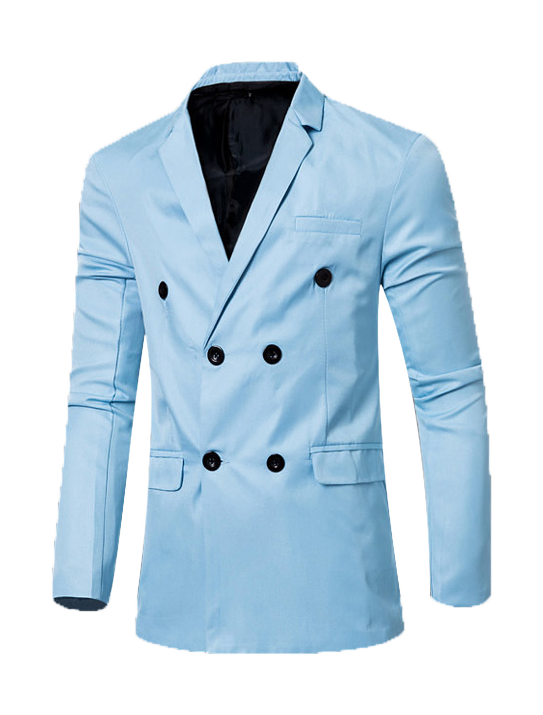 Men Notched Lapel Flap Pockets Double Breasted Blazer Sky Blue M