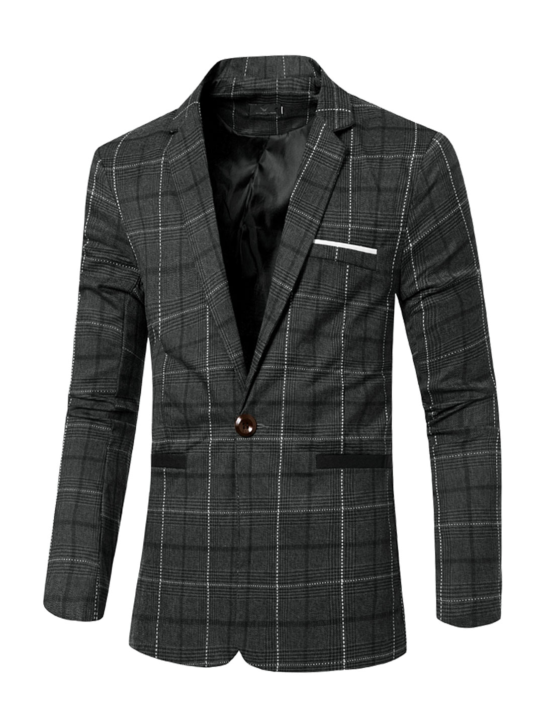 Men Notched Lapel Padded Shoulder Checked Slim Fit Blazer Dark Gray S