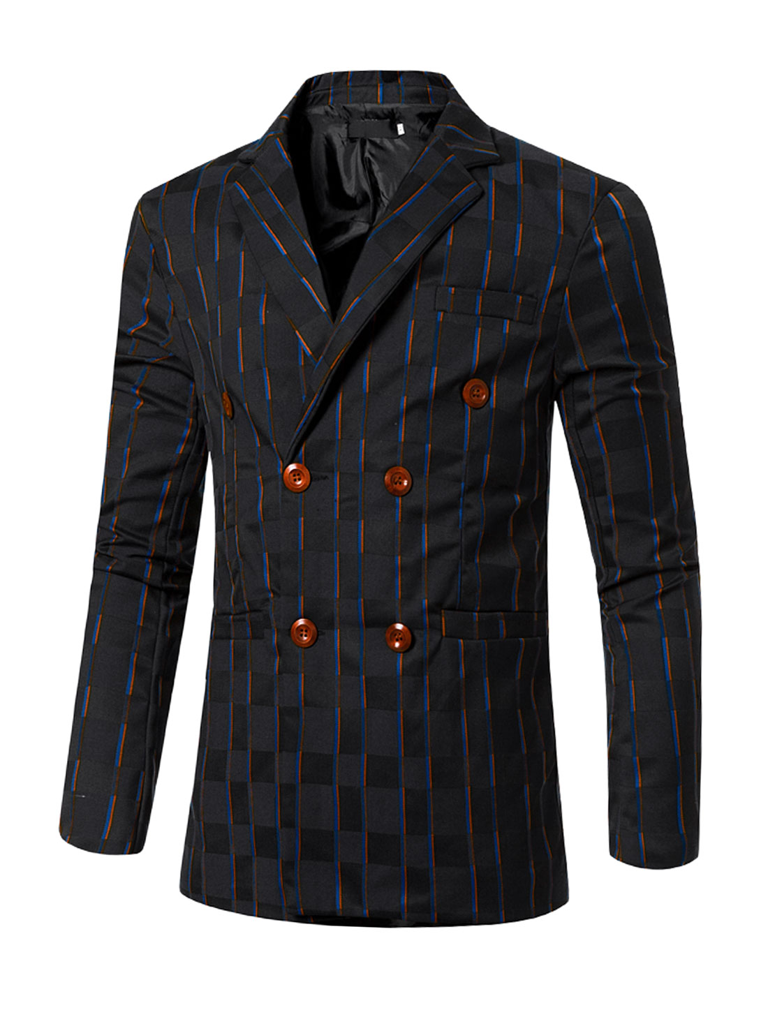 Men Striped Checked Long Sleeves Double Breasted Slim Fit Blazer Blue S