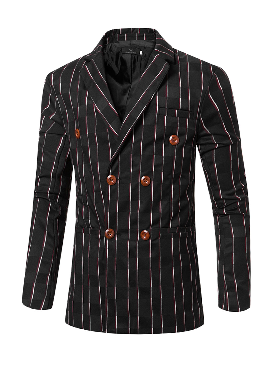 Men Striped Checked Long Sleeves Double Breasted Slim Fit Blazer Black M