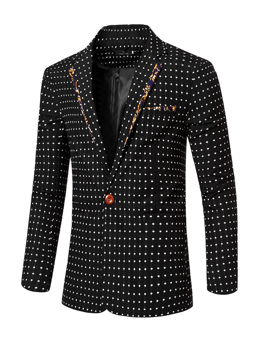 Men Notched Lapel Dots One-Button Two Pocket Slim Fit Blazer Black S
