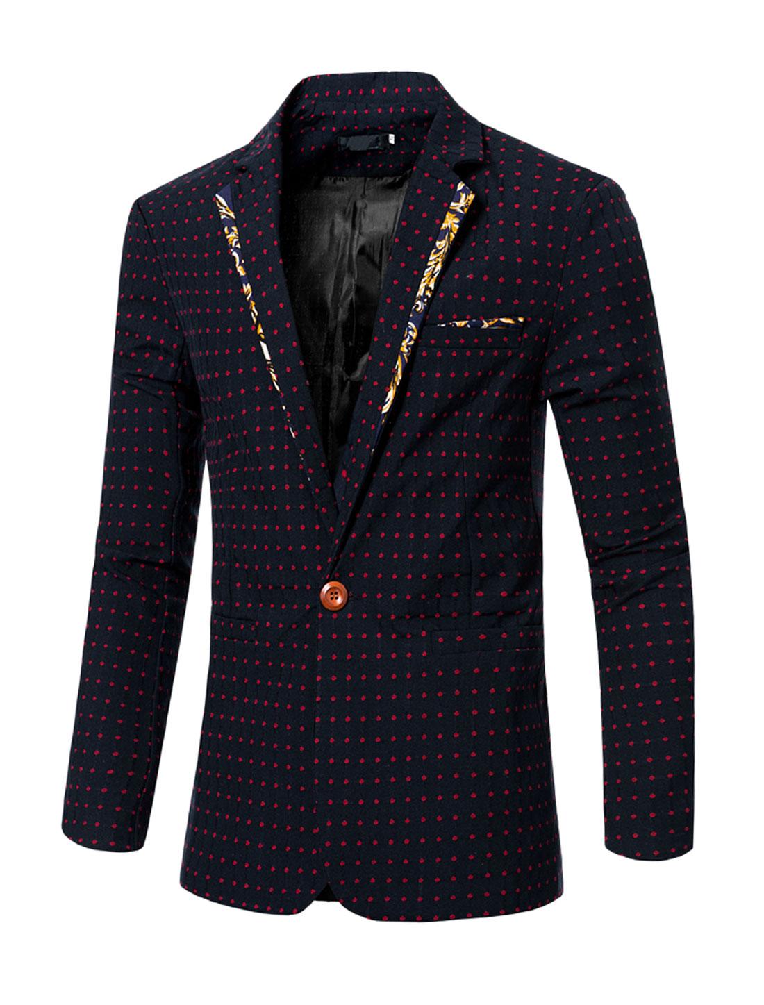 Men Notched Lapel Dots One-Button Two Pocket Slim Fit Blazer Red M