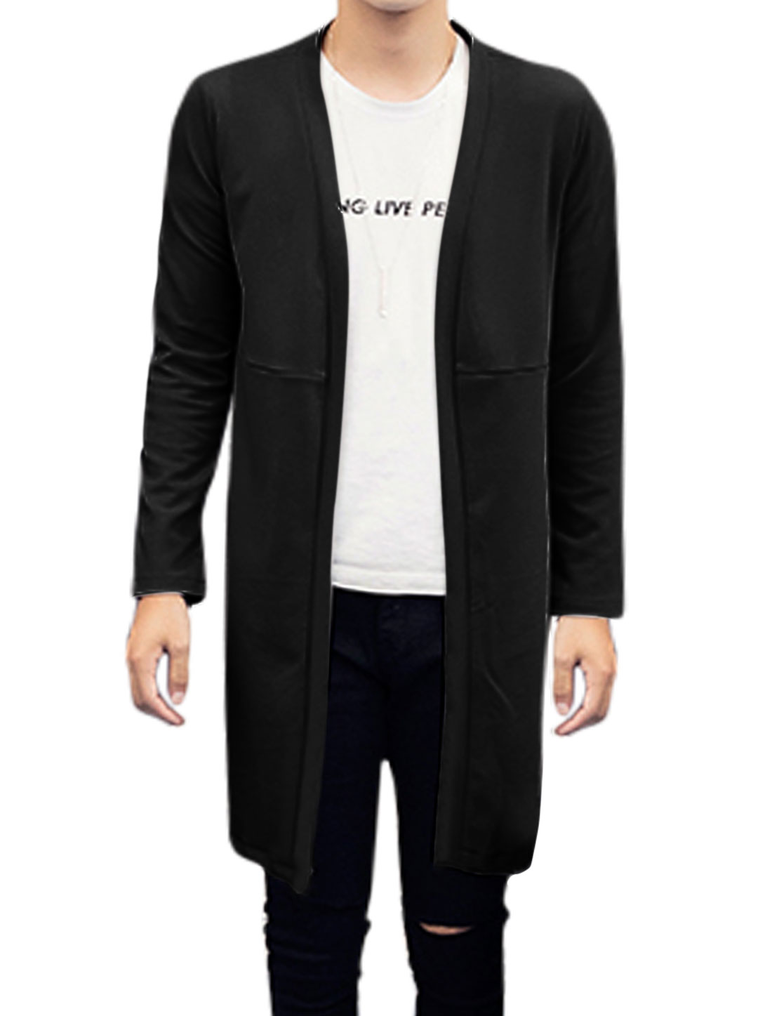 Men Long Sleeves Front Opening Stand Collar Cardigan Black M