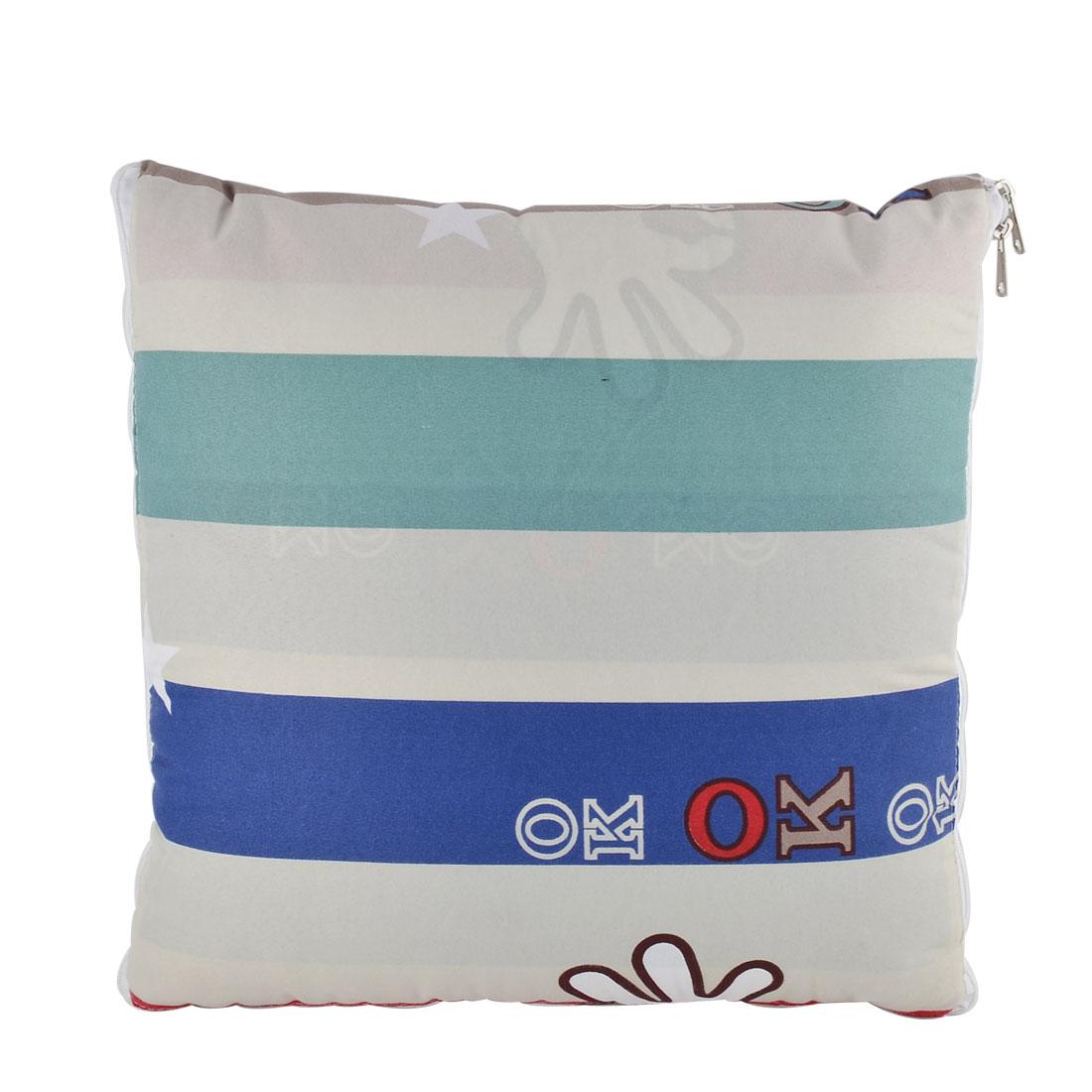Home Office Car Cotton Blends Stripe Print Zippered Pillow Cushion Quilt Dual 40 x 40cm