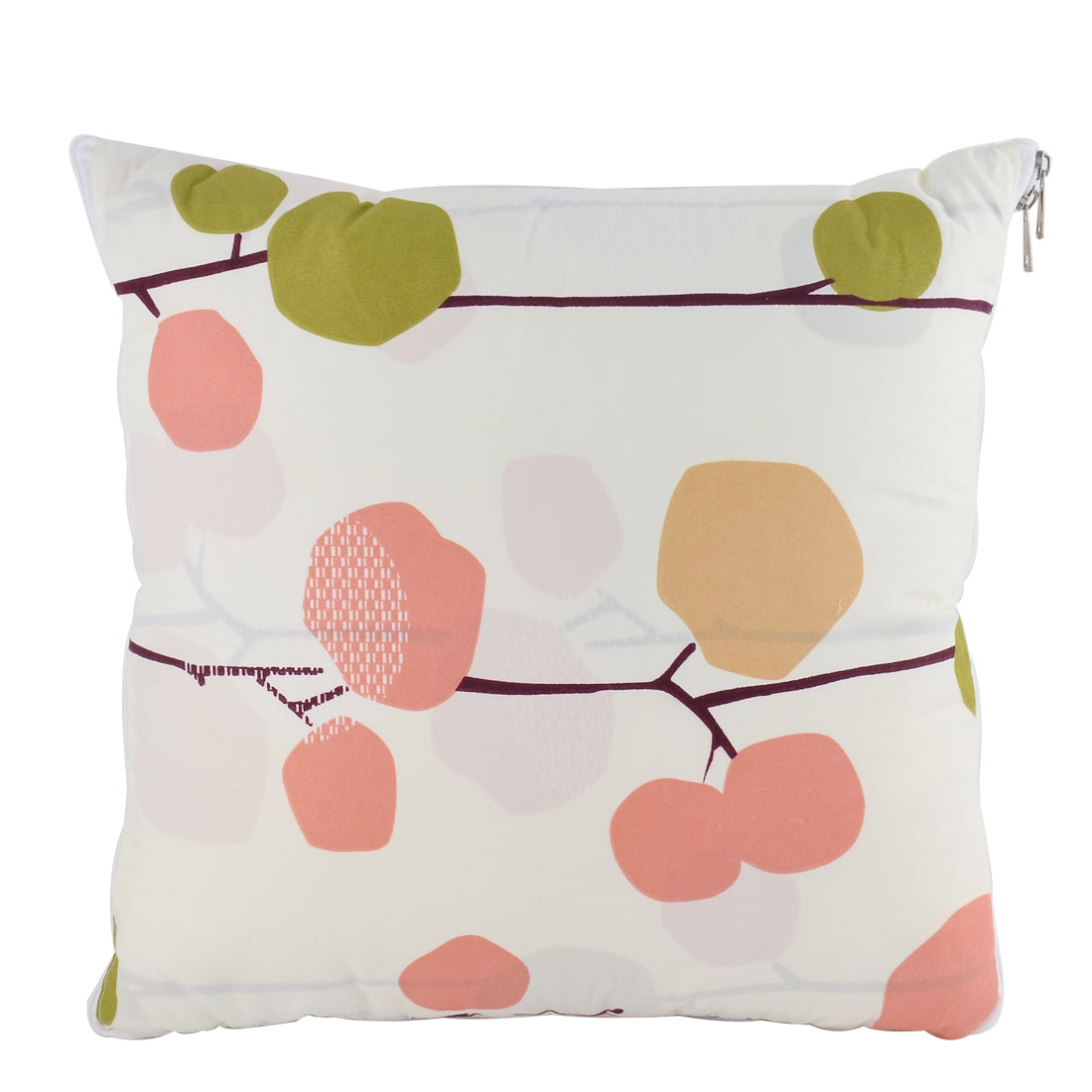 Home Office Car Cotton Blends Fruit Tree Print Zippered Pillow Cushion Quilt Dual 40 x 40cm