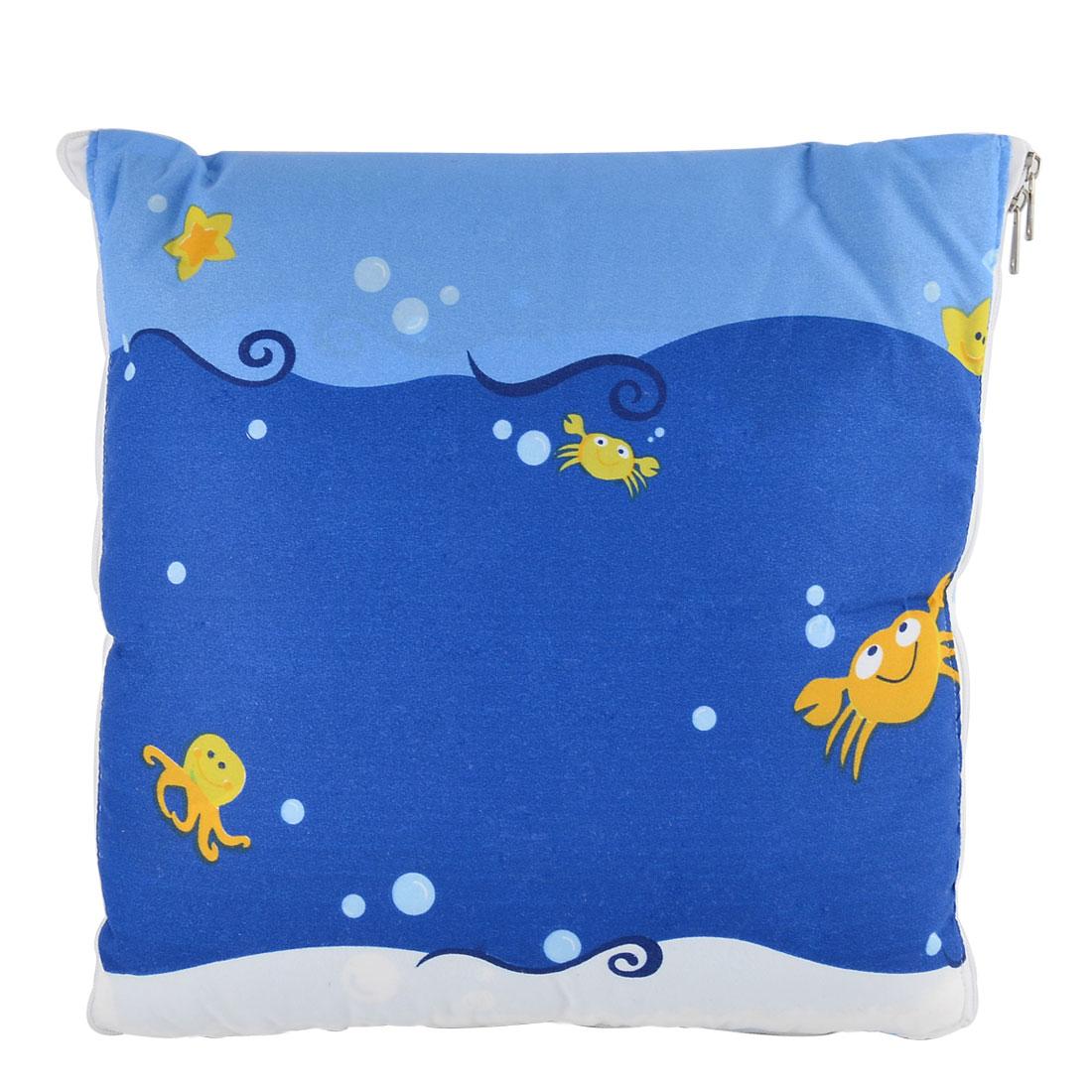 Home Office Car Cotton Blends Sea Animals Print Zippered Pillow Cushion Quilt Dual 40 x 40cm