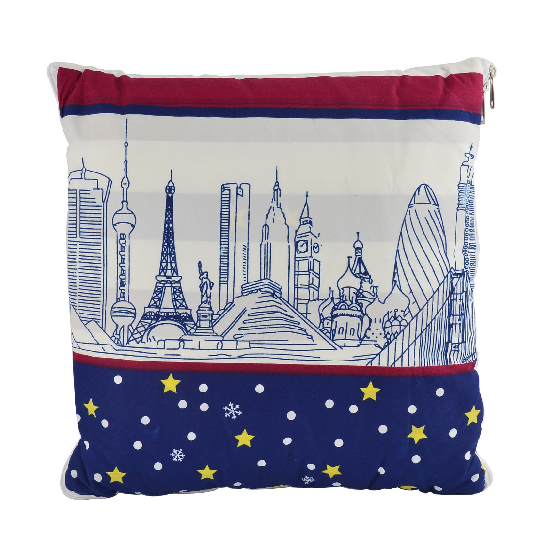Home Office Car Cotton Blends Stars Buildings Print Zippered Pillow Cushion Quilt Dual 40 x 40cm
