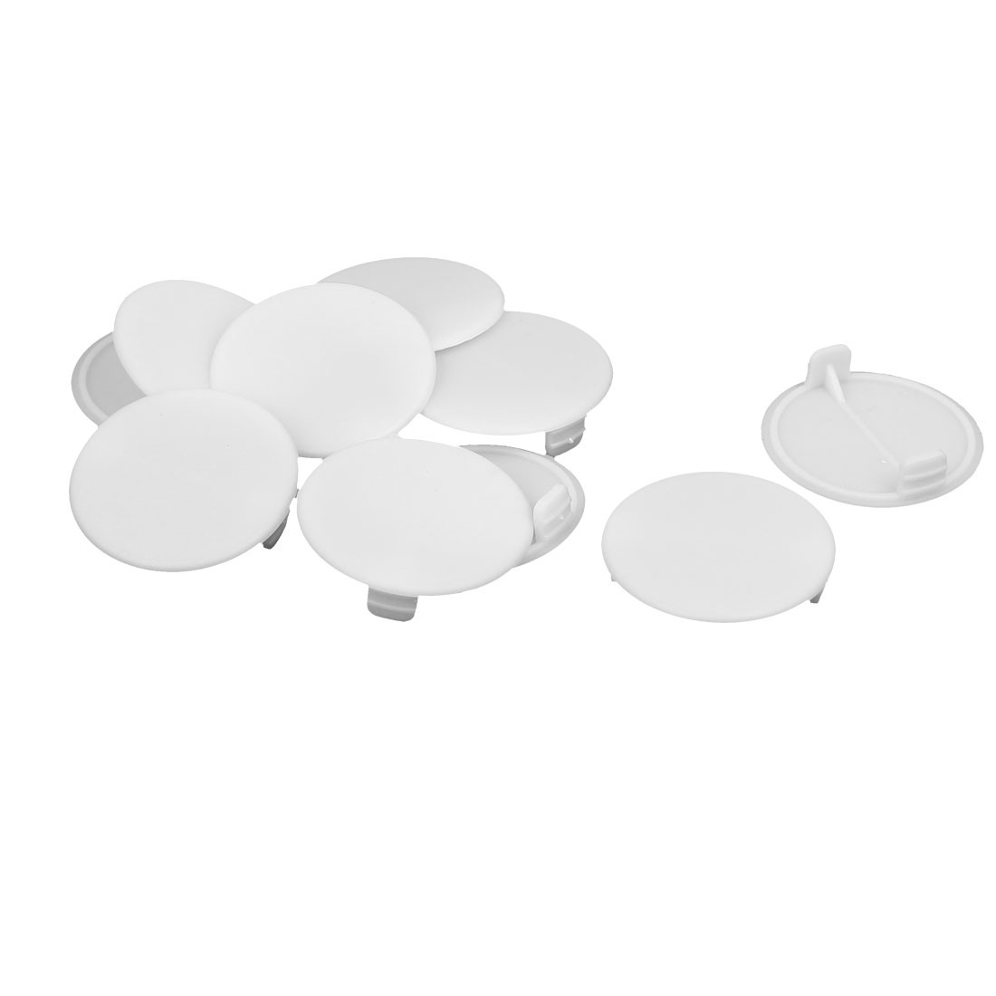 Home Plastic Round Flush Mount Hole Stoppers Covers White 38mm Dia 10pcs