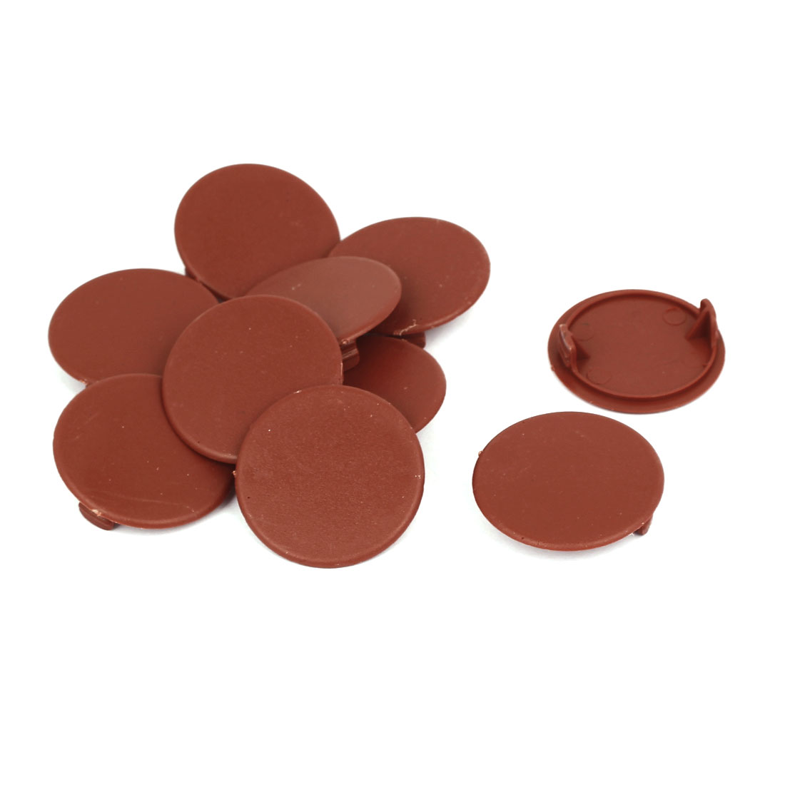 Home Plastic Round Flush Mount Hole Stoppers Covers Brown 40mm Dia 10pcs