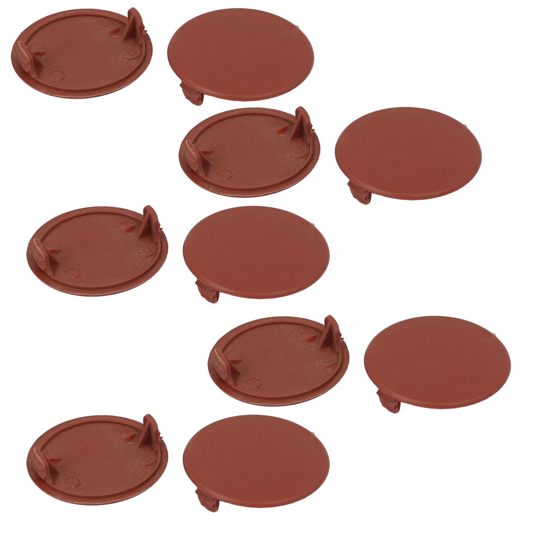 Home Plastic Round Flush Mount Hole Stoppers Covers Brown 42mm Dia 10pcs