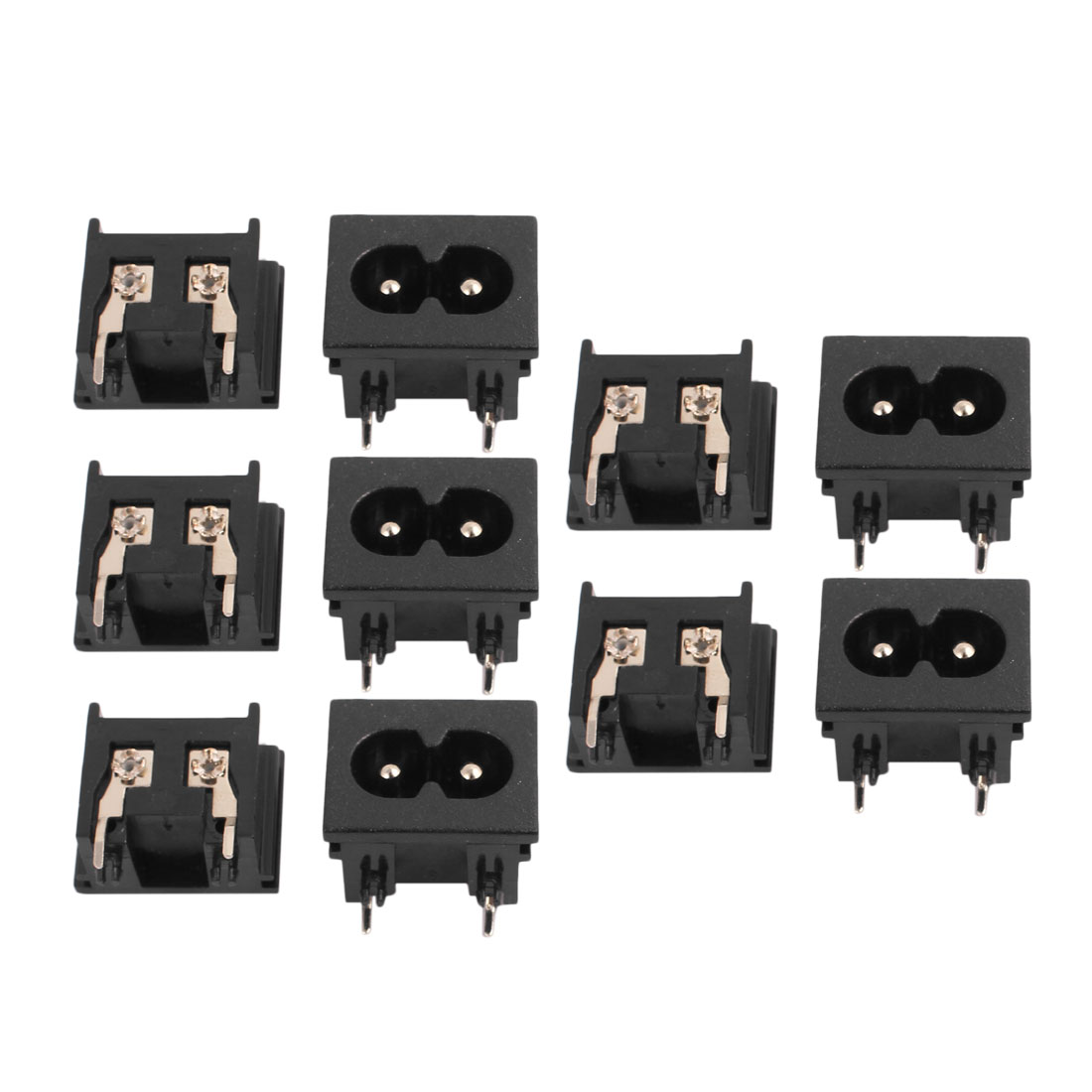 AC250V 2.5A BX-180-A05 IEC AC Input Wiring Socket 2 Pins Copper Rhodium Power 10 Pcs