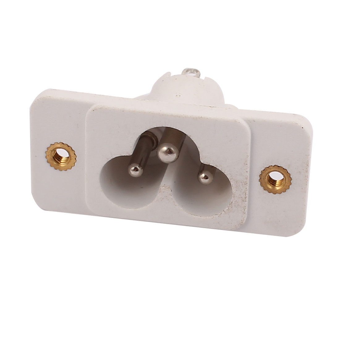 AC250V 2.5A/5A DB-14-S-3T IEC AC Input Wiring Socket Copper Rhodium Power White