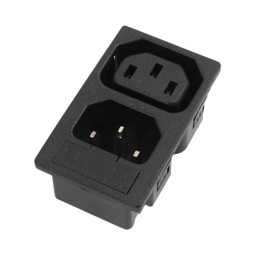 10A AC 250V Inlet Male And Female Power Socket with Fuse Switch 3 Pin IEC320 C14 Black