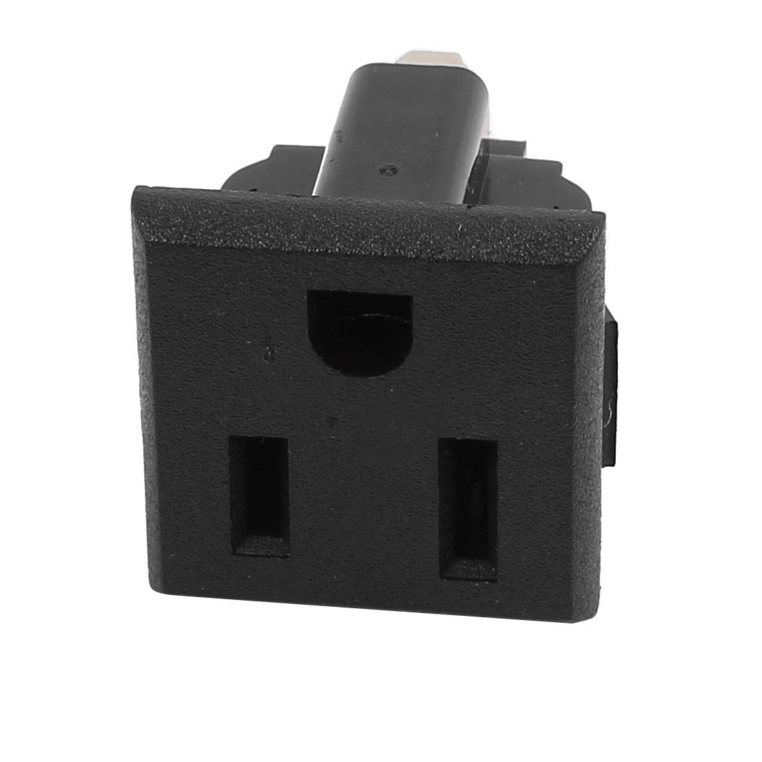 AC 125V 15A US Plug 3 Terminal Outlet Power Socket Connector Black Panel Mount