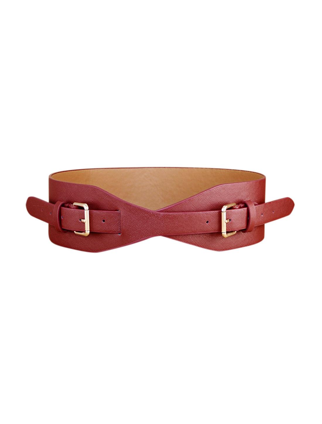 Women Adjustable Wide PU Double Buckle Retro Cinch Belt Red