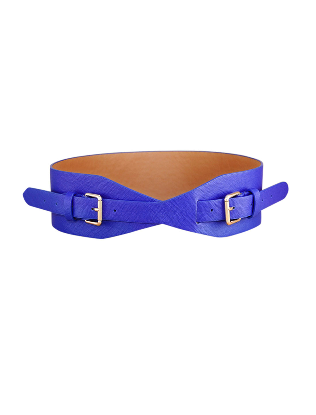 Women Adjustable Wide PU Double Buckle Retro Cinch Belt Blue