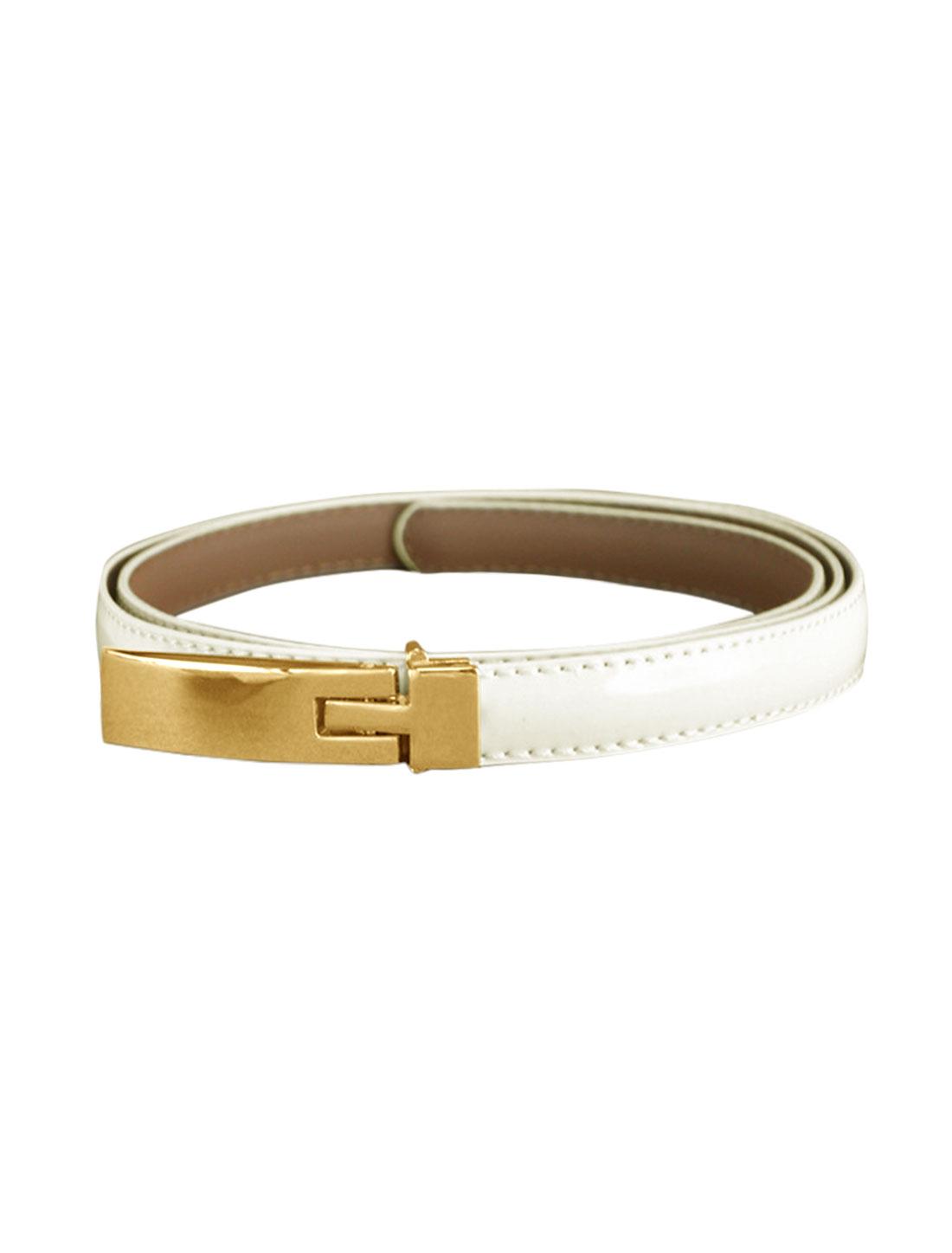 Women Adjustable Holes Press Buckle Skinny PU Waist Belt White