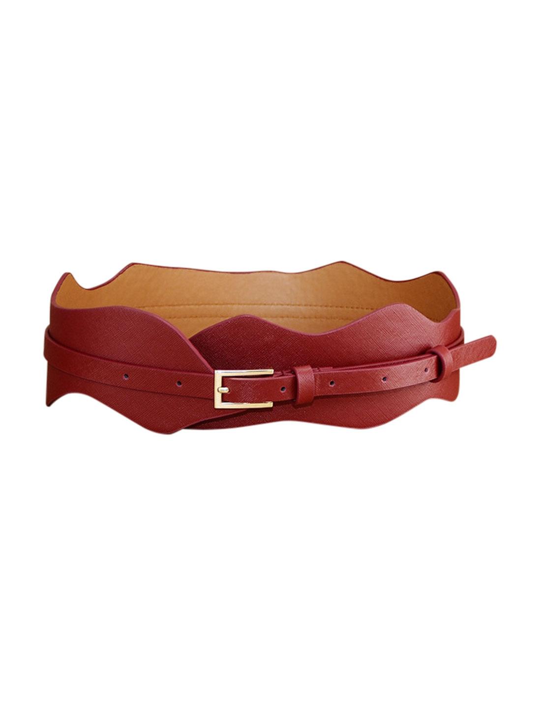 Women Wave Design Adjustable Single Pin Buckle Belt Red