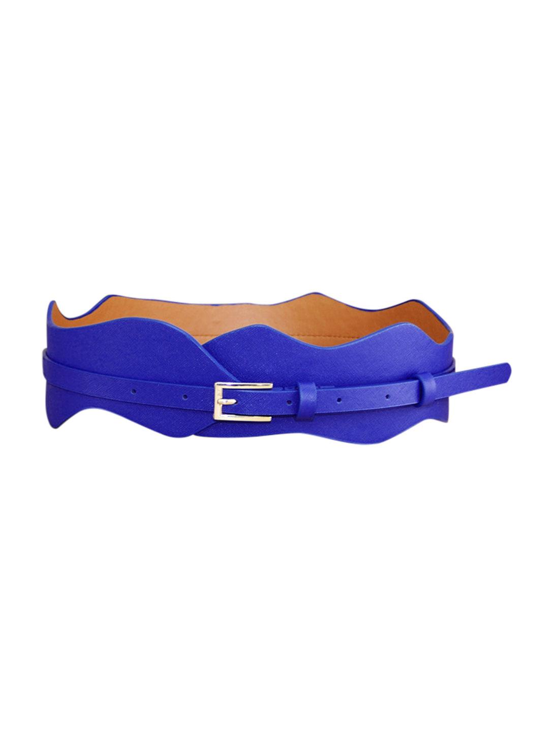 Women Wave Design Adjustable Single Pin Buckle Belt Blue