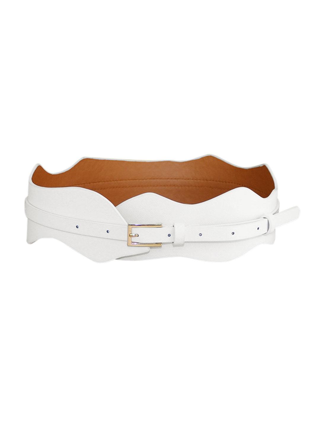 Women Wave Design Adjustable Single Pin Buckle Belt White