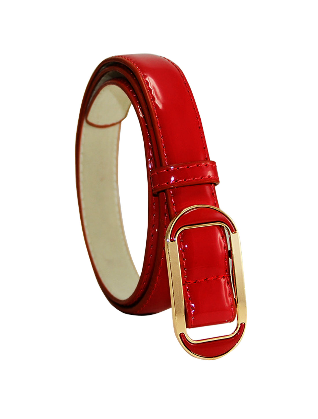 Women Adjustable Holeless Slide Buckle PU Waist Belt Red