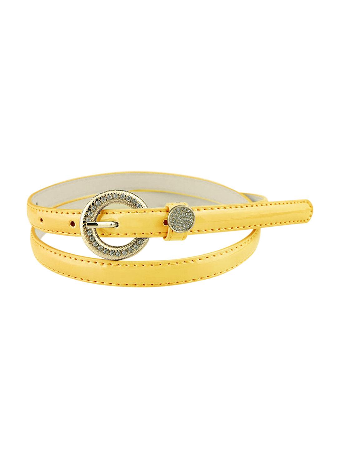 Women Rhinestone Decor Single Pin Buckle Waist Belt Yellow