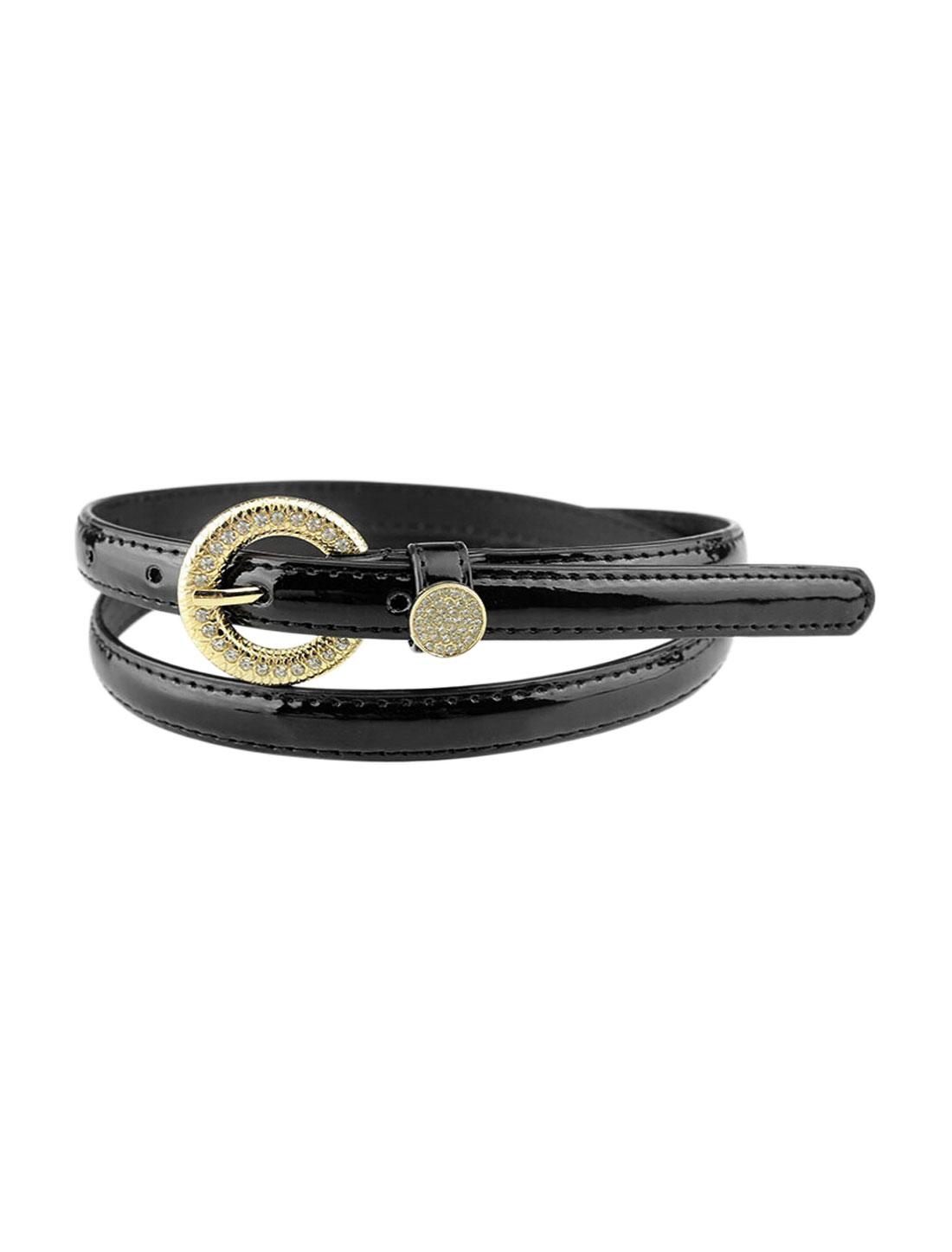 Women Rhinestone Decor Single Pin Buckle Waist Belt Black