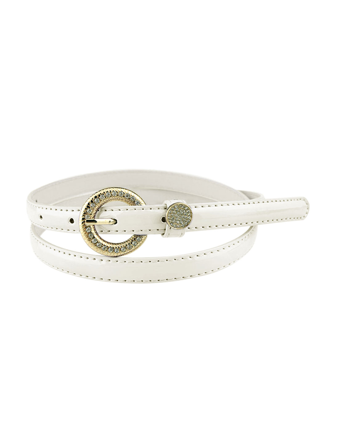 Women Rhinestone Decor Single Pin Buckle Waist Belt White