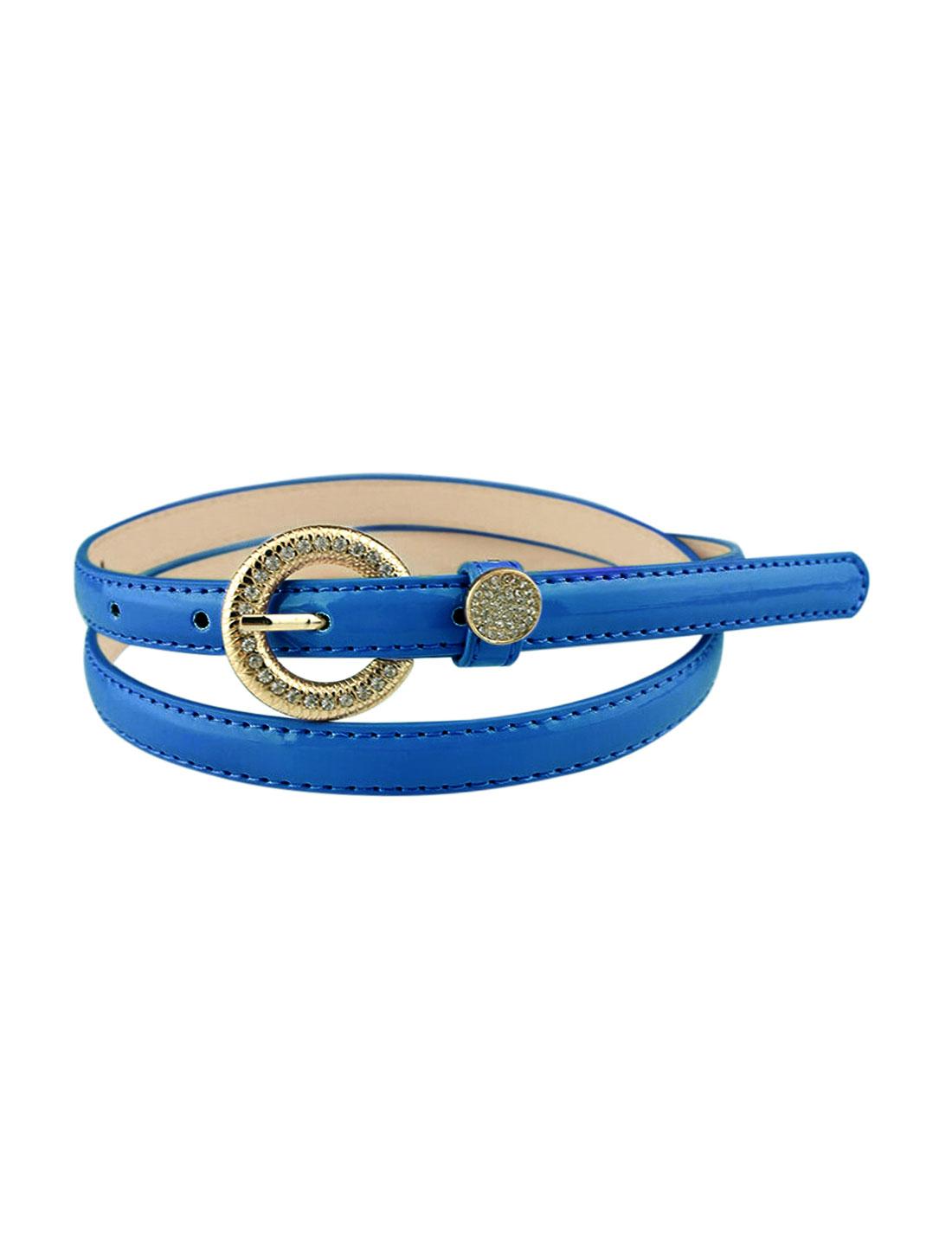 Women Rhinestone Decor Single Pin Buckle Waist Belt Royal Blue