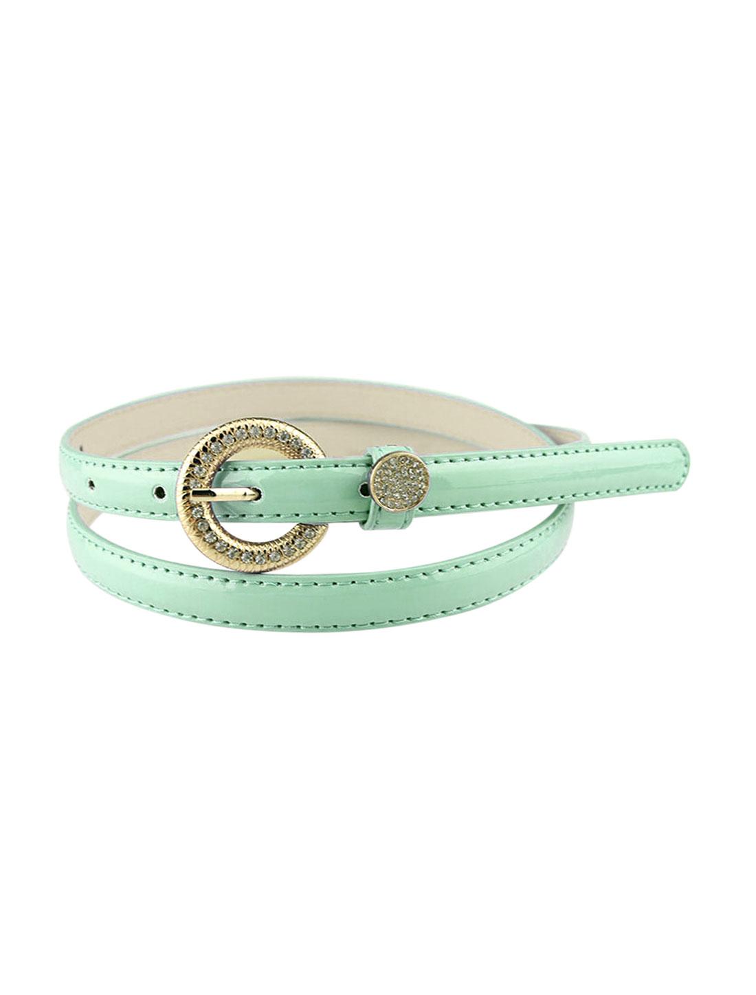 Women Rhinestone Decor Single Pin Buckle Waist Belt Green