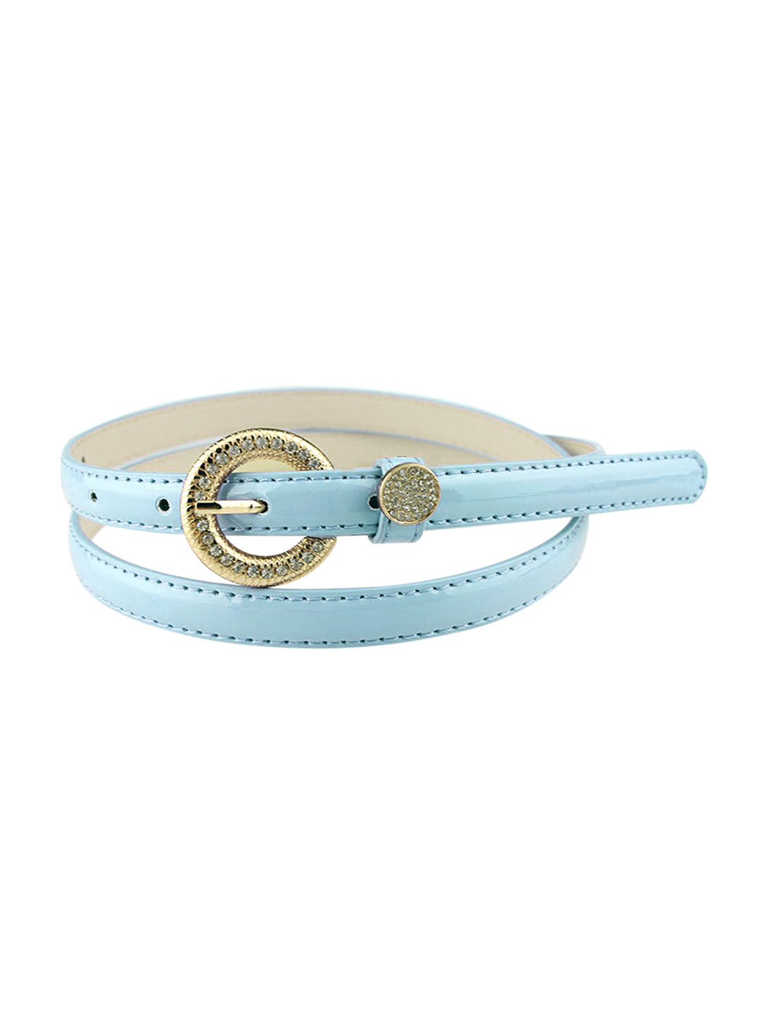 Women Rhinestone Decor Single Pin Buckle Waist Belt Light Blue