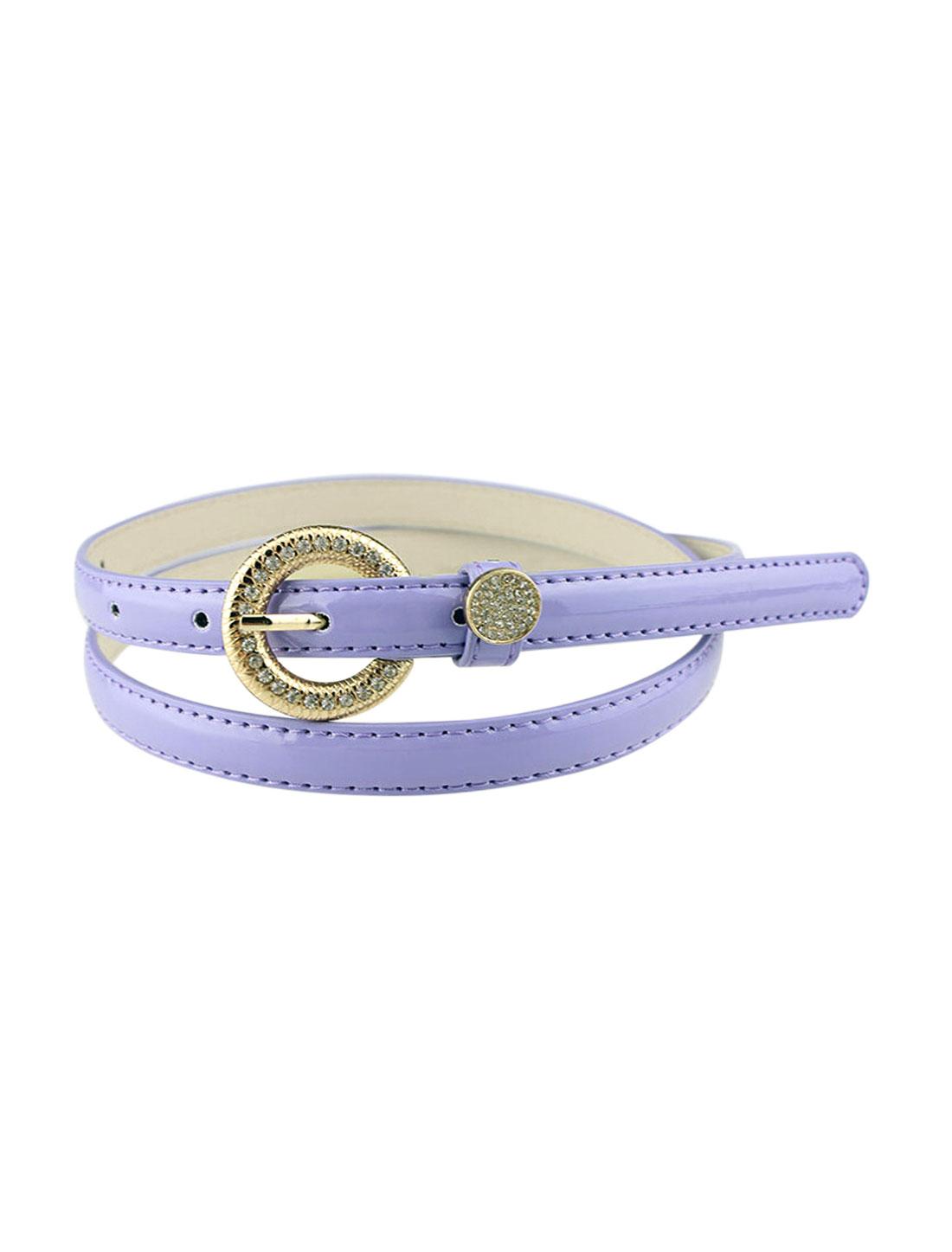 Women Rhinestone Decor Single Pin Buckle Waist Belt Purple