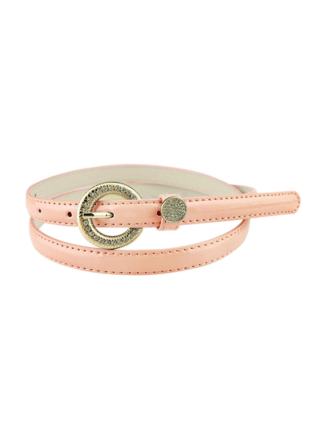 Women Rhinestone Decor Single Pin Buckle Waist Belt Pink