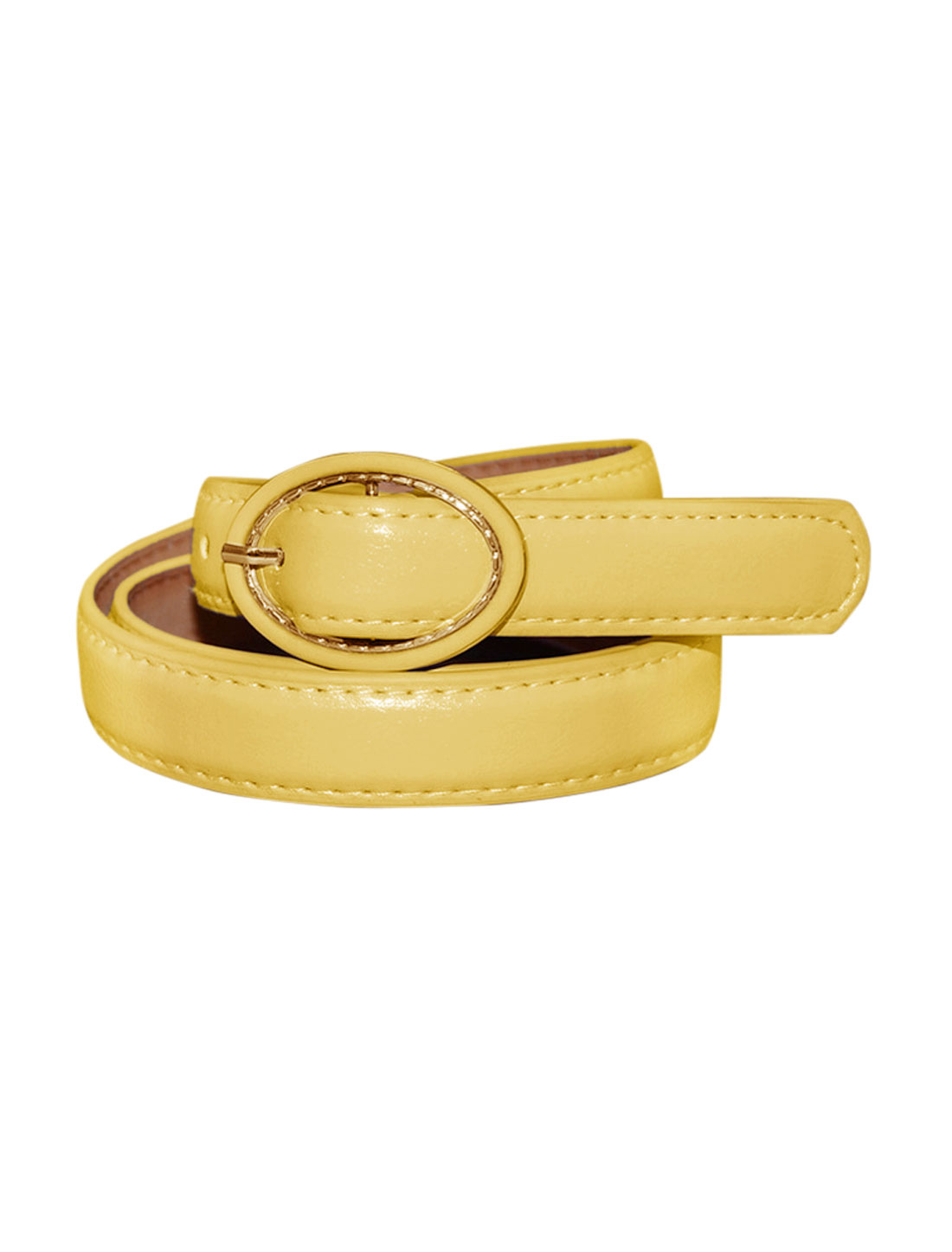 Women Single Pin Buckle Circle Design Adjustable PU Belt Yellow