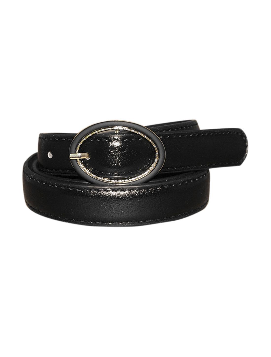 Women Single Pin Buckle Circle Design Adjustable PU Belt Black