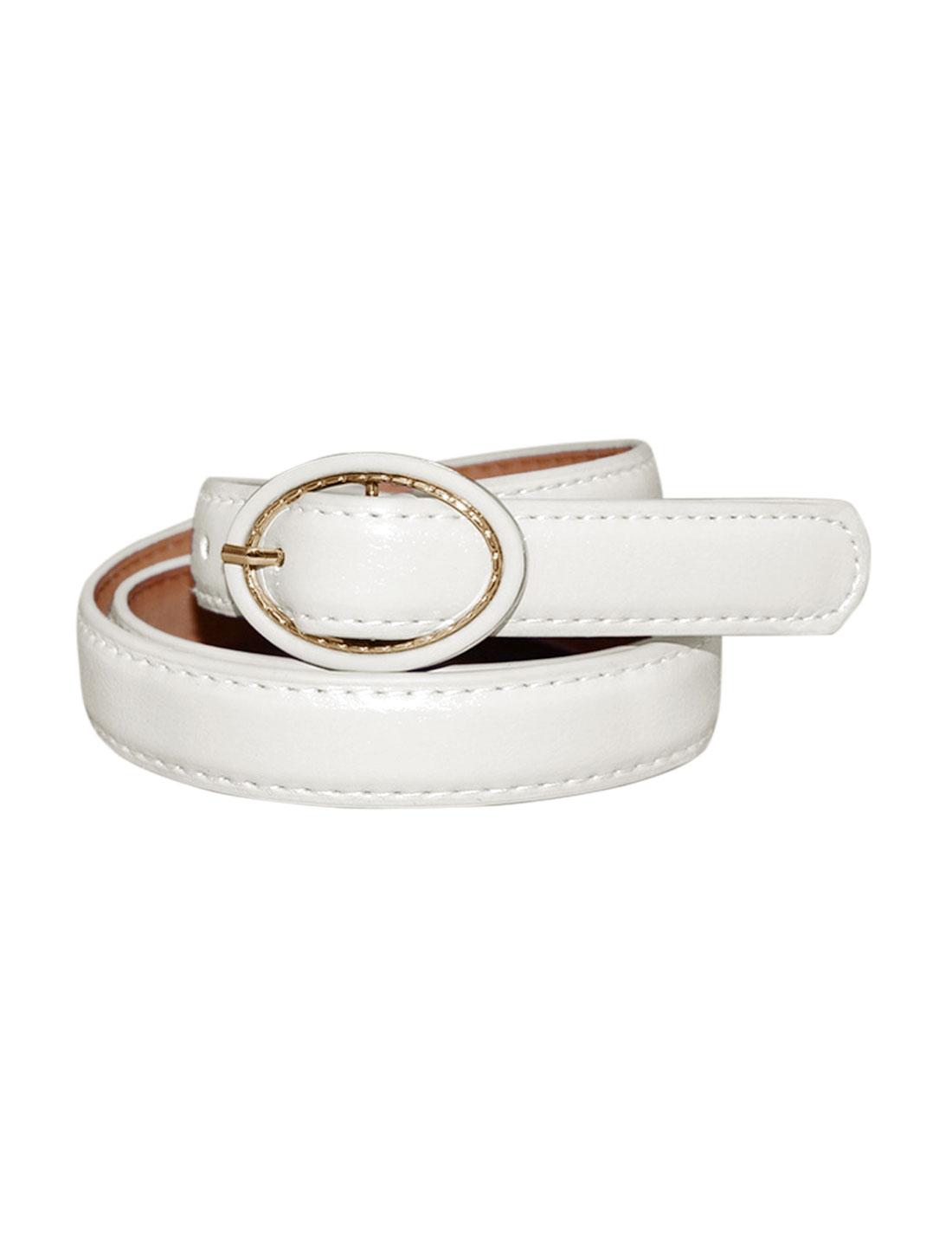Women Single Pin Buckle Circle Design Adjustable PU Belt White
