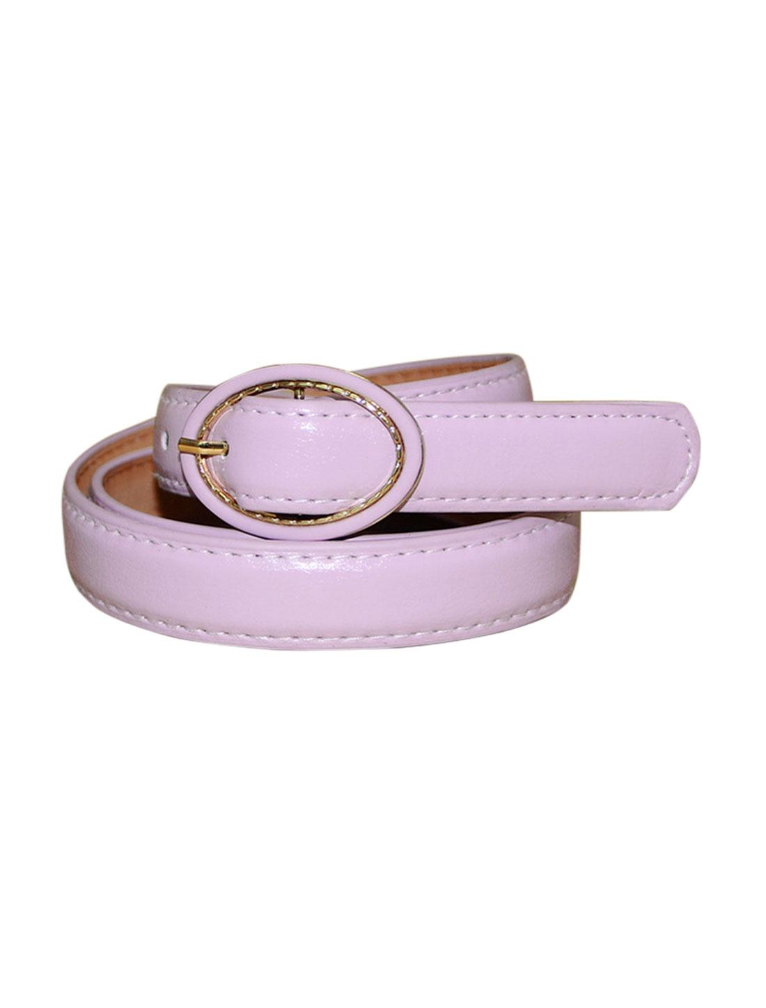 Women Single Pin Buckle Circle Design Adjustable PU Belt Purple
