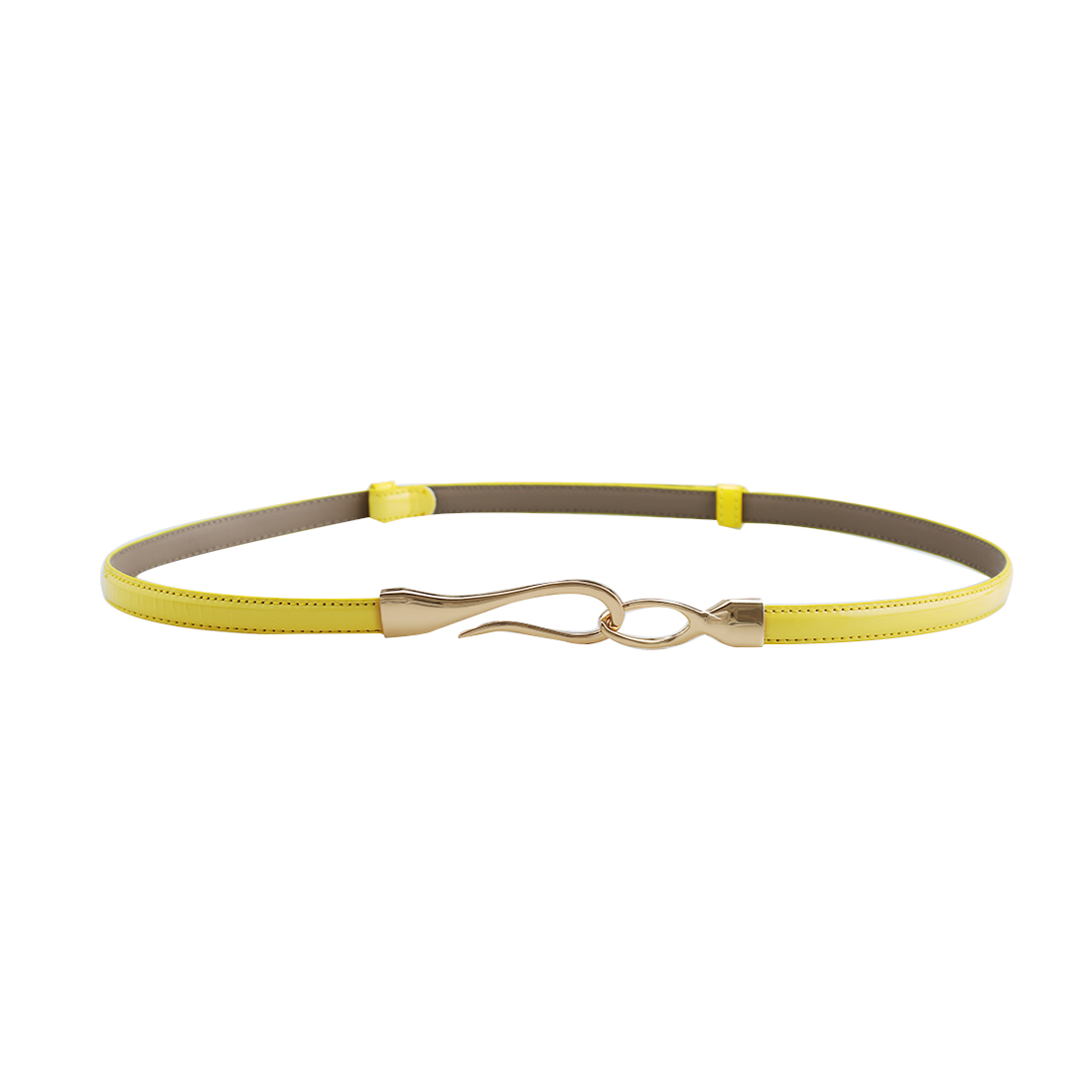 Women Interlocking Buckle Adjustable Slim PU Belt Yellow