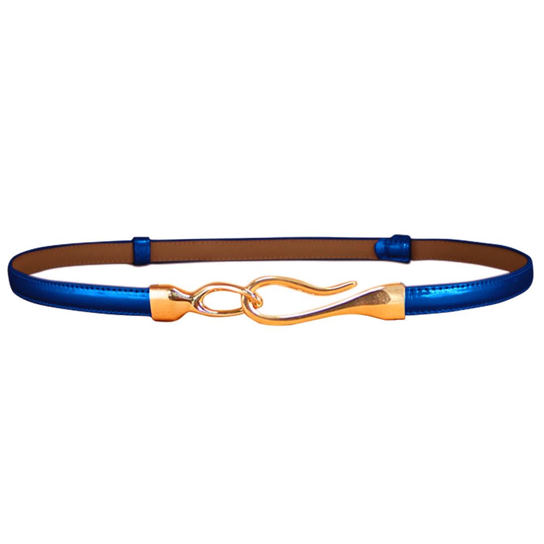 Women Interlocking Buckle Adjustable Slim PU Belt Royal Blue