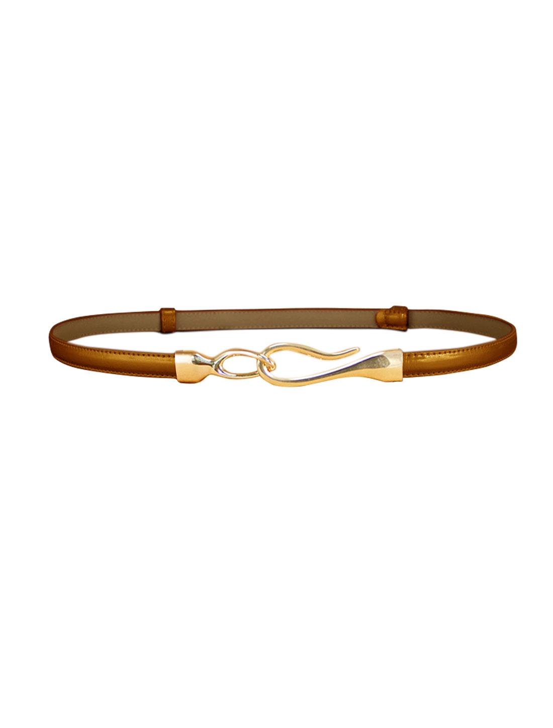 Women Interlocking Buckle Adjustable Slim PU Belt Brown