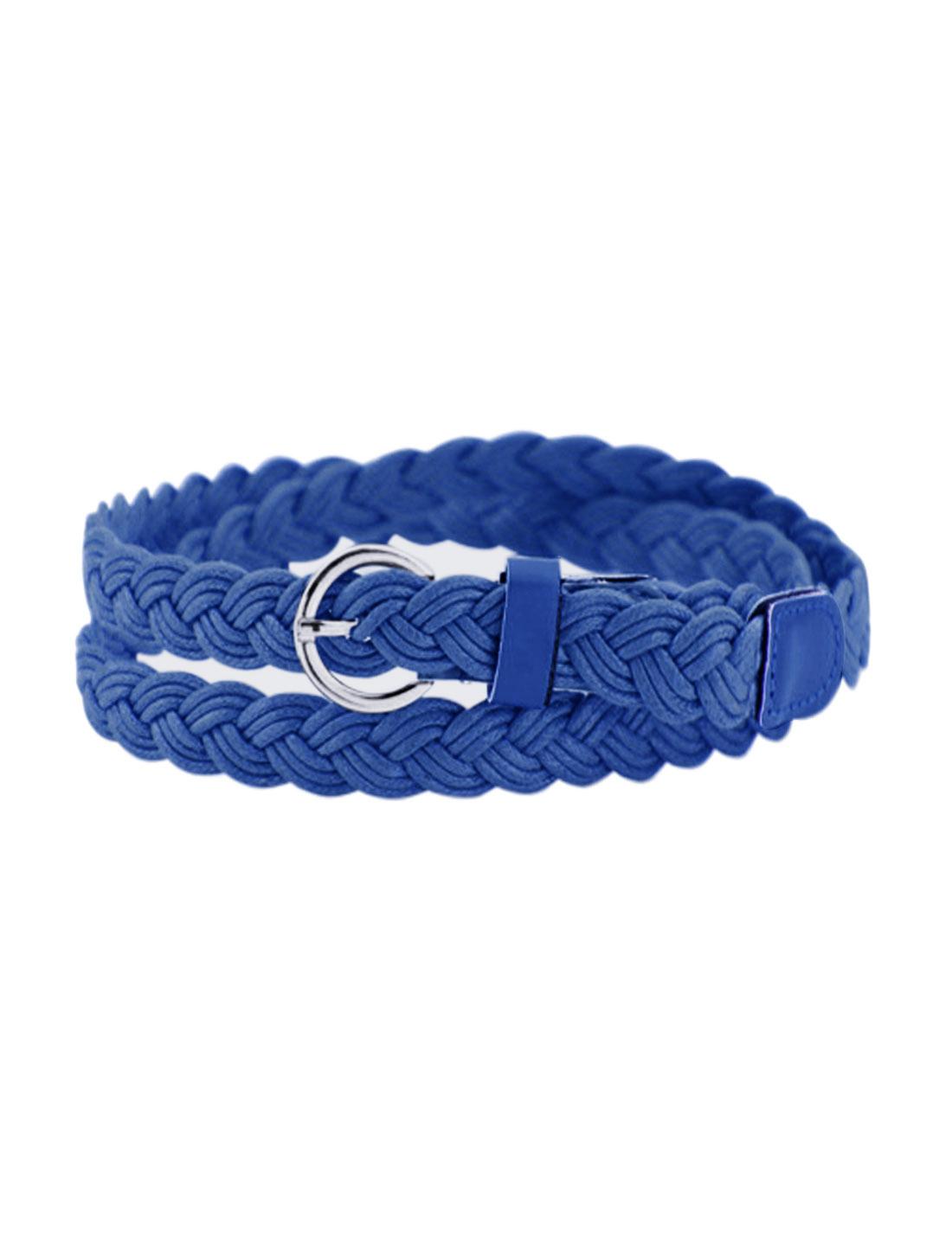 Women Adjustable Single Pin Buckle Skinny Braided Belt Blue
