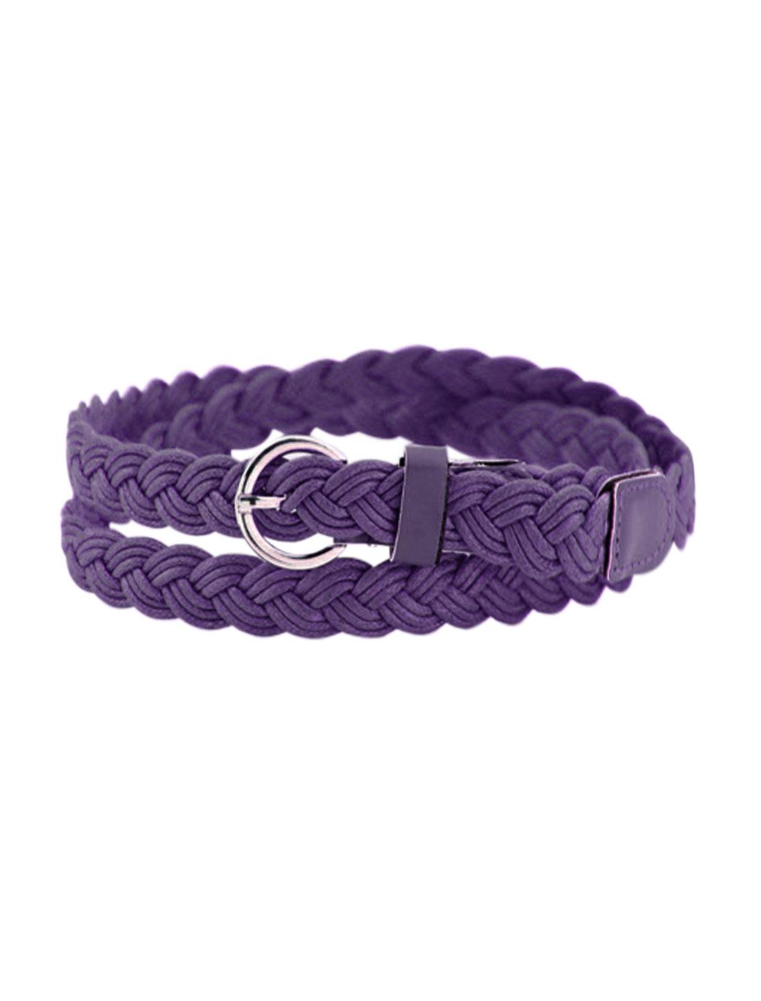 Women Adjustable Single Pin Buckle Skinny Braided Belt Purple