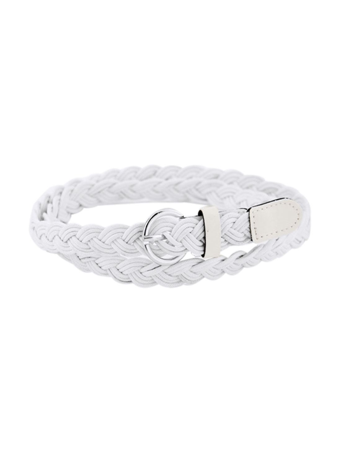 Women Adjustable Single Pin Buckle Skinny Braided Belt White