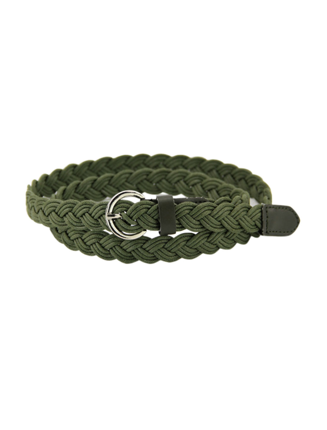 Women Adjustable Single Pin Buckle Skinny Braided Belt Green