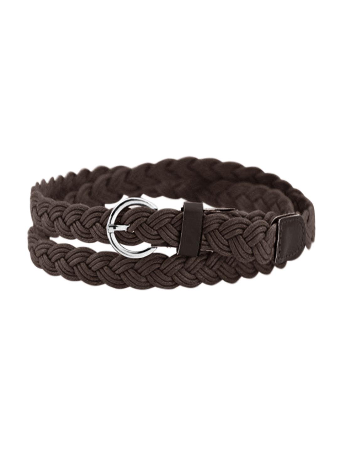 Women Adjustable Single Pin Buckle Skinny Braided Belt Brown