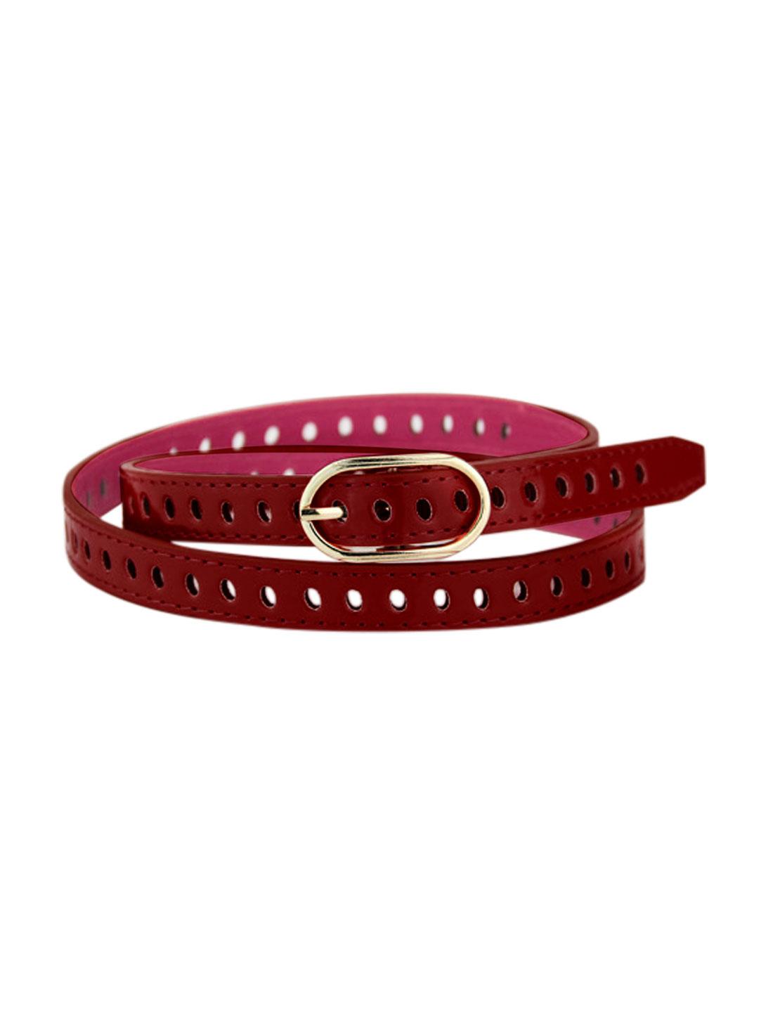 Women Adjustable Single Buckle Hollow Out PU Waist Belt Red