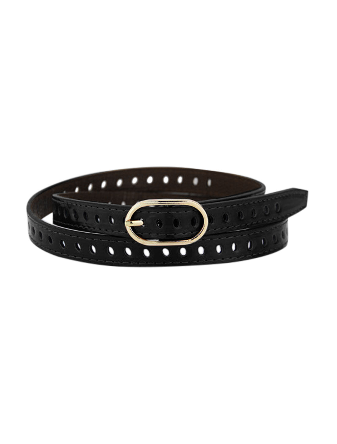 Women Adjustable Single Buckle Hollow Out PU Waist Belt Black
