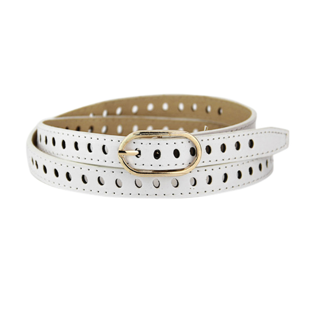 Women Adjustable Single Buckle Hollow Out PU Waist Belt White